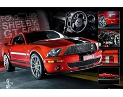 1art1 Macchine - Easton Red Mustang Poster Stampa (91 x 61cm)