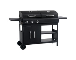 vidaXL Barbecue Combinato Carbone e Gas 3 Fuochi