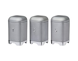 Kitchen Craft Lovello Textured Tea/Coffee/Sugar Canisters with Geometric Hexagon Pattern, Steel, Shadow Grey, 3 Pieces Barattolo