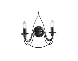 Fan Europe Applique Classica Elegante con Decorazioni Originali E14, 40 W, Nero, 29x33 Nero Classico Metallo
