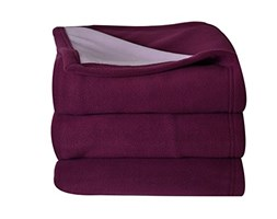 Toison d'Or Aura- Coperta in Pile Double Face, in Poliestere, 180 x 220 cm, Colore: Prugna