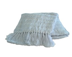 Toison d'Or Isis - Plaid in Mohair, Lana, Poliammide, 130 x 170 cm, Colore: Argento