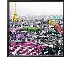 International Graphics - Stampa artistica incorniciata - Anne, Valverde - ''Eiffel Colours''- 31 x 31 cm - Colore della cornice: Nero - Serie ATHOS