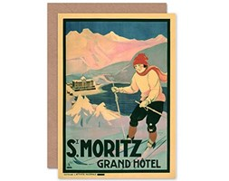 Wee Blue Coo Travel Tourism ST Moritz Winter Sport Ski Snow New Blank Greetings Card