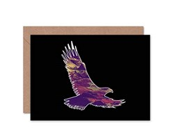 Wee Blue Coo Photo Animal Outline Scenic Inset Eagle Hillside Art Greetings Card Nero