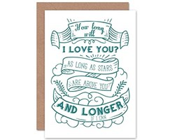 Wee Blue Coo Card Greeting Quote Motivation How Long WILL I Love You