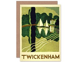 Wee Blue Coo Travel Tourism TWICKENHAM London Thames Boat River Blank Greetings Card