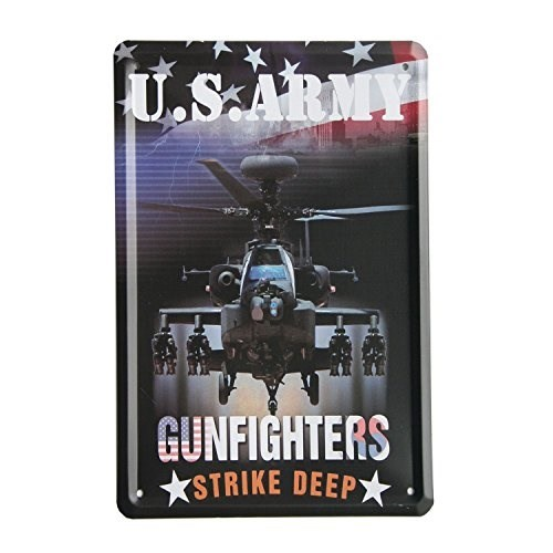 SuperStudio Lo + deModa hcn1393 – 87 – Quadro di Metallo Stampa, Motivo Vintage US Army Gunfighters, 15 x 21 cm, Multicolore