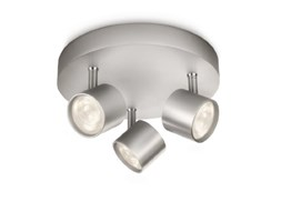 Philips Lighting 562434816 myLiving Plafoniera con 3 Spot a LED, Alluminio, Grigio Argento LED
