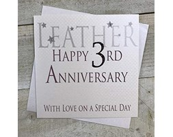 WHITE COTTON CARDS Happy Anniversary in Pelle with Love ON a Special Day Fatto a Mano Carta