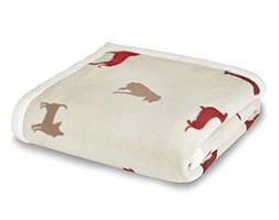 Catherine Lansfield Hounds Plaid, Poliestere, Rosso, a una Piazza Poliestere