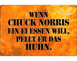 Schatzmix Targa in Metallo con Scritta Chuck Norris Ein EI Essen Metallschild Wanddeko 20x30 Tin Sign