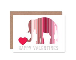 Wee Blue Coo Happy Valentines Elephant Love Heart Romance Day Blank Greetings Card