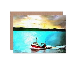 Wee Blue Coo Card Greeting RK Painting Lobster Fishing Boat Forth Gift Grigio
