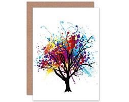 Wee Blue Coo Paint Splat Abstract Tree - Blank Greetings Card Dipingere Astratto Albero