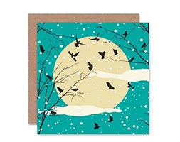 Wee Blue Coo Winter Tree with Crows Against Moon Snow Blank Greetings Birthday Card Art