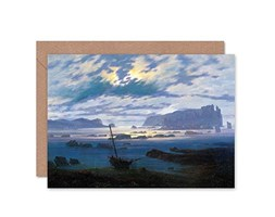 Wee Blue Coo Card Greeting Painting Seascape Friedrich Northern Sea Moonlight Gift