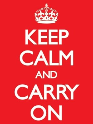 Keep Calm - Immagine Su Tela And Carry On, 60X80, Colore: Rosso Rosso