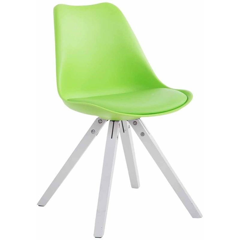 Sedia Toulouse in similpelle gambe quadrate Verde Bianco (rovere) Legno Design Ecopelle