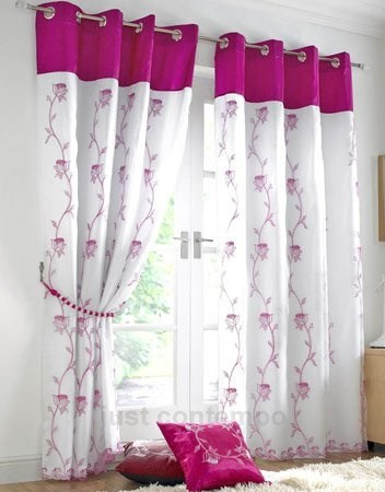 Just Contempo Tende, Poliestere, Floral Cerise, 56 x 72 Inches Ricamo Bianco