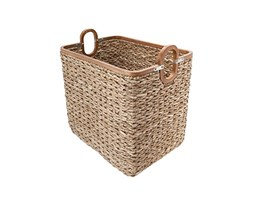 Kouboo Rectangular Handwoven Anson Storage Basket in Twisted Sea Grass with Decorative Wood Frame, Natural/Brown