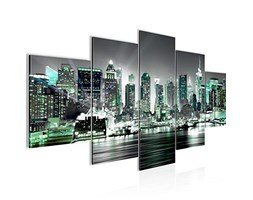 Runa Art - Quadri New York City 200 x 100 cm 5 Pezzi XXL Decorazione Murale Design Turchese Grigio 605551c