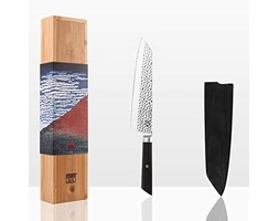 KOTAI Professional Chef's Knife - Japanese aus-8 High-Carbon Stainless Steel​ ​Kitchen Knife - 8 inch Chef Knife Blade with Black Ebony Handle - Kiritsuke Japanese Knife with Knife Guard Nero