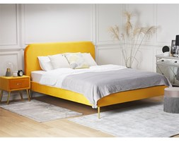 Letto in velluto giallo 140 x 200 cm FLAYAT