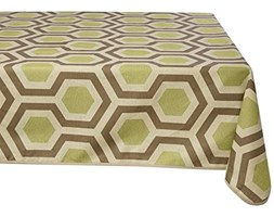 GIRONES Hexagon Beechnut & Walnut Tablecloth 140 x 200 cm Verde