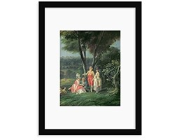"""Magnolia Box """"A Walk in The Park by Jean-Baptiste hilair Framed Painting Stampa, Legno,, Small Multicolore Verde"""