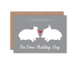 Wee Blue Coo Wedding Day Animal Silhouette Love Hedgehog Heart Gift Sealed Greeting Card Plus Envelope Blank Inside Animale Amore Cuore Regalo San Valentino