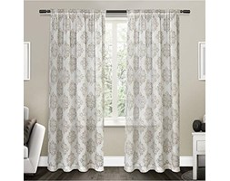 Exclusive Home EH8065-012-84R Nagano Belgian Linen Ikat Print Rod Pocket Window Curtain Panel Pair, Poliestere, Taupe, 54x84