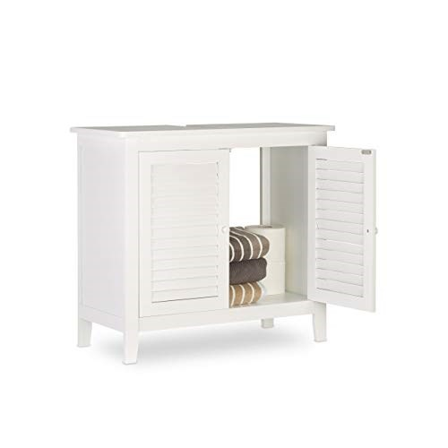 Relaxdays LAMELL Mobile Sottolavabo Bianco, Mobiletto per Lavabo ...