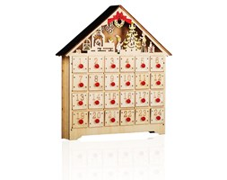 Calendario Avvento in legno con cassettini numerati e LED Beige