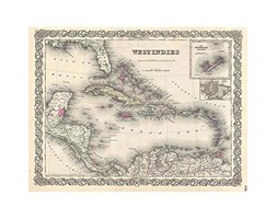 Wee Blue Coo 1855 Colton Map The West Indies Vintage Art Print Poster Wall Decor 12X16 inch Carta geografica Ovest Vintage ▾ Manifesto Parete