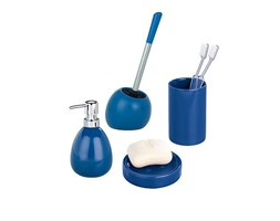 Wenko Set accessori da Bagno con Scopino Polaris Blu