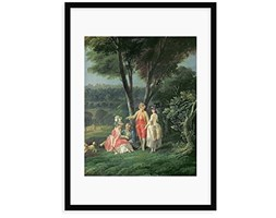 """Magnolia Box """"A Walk in The Park by Jean-Baptiste hilair Framed Painting Stampa, Legno,, Large"""