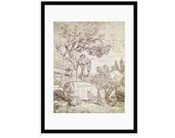 """Magnolia Box """"Un Italiano Chitarrista Playing per Tre Ballerina by Jean-Honore Fragonard Framed Painting Stampa, Legno,, Large"""