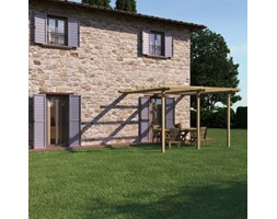 Pergola Orange in legno naturale L 390 x P 390, H 240 cm Verde