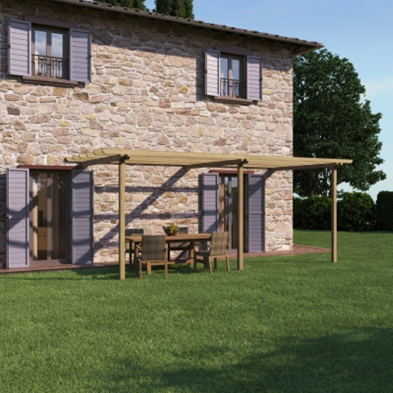 Pergola Orange in legno naturale L 600 x P 300, H 240 cm