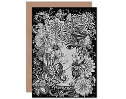 Wee Blue Coo Flower Face Illustration Sealed Greeting Card Plus Envelope Blank Inside Fiore Viso Illustrazione