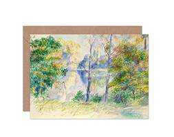 Renoir View of A Park Painting Fine Art Greeting Card Plus Envelope Blank Inside Visualizza Parco Pittura