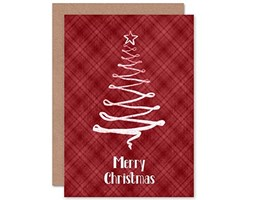Wee Blue Coo Christmas Xmas Red String Tree New Art Greetings Gift Card