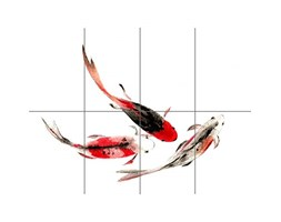 Japanese Koi Fish Black And Red XL Giant Panel Poster (8 Sections) Giapponese Pesce Manifesto Grigio