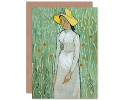 Vincent Van Gogh Girl in White Painting Fine Art Greeting Card Plus Envelope Blank Inside Ragazza Pittura Menta Stampa artistica