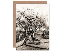 Vincent Van Gogh Parsonage Garden Nuenen Winter Fine Art Greeting Card Plus Envelope Blank Inside Giardino Inverno Beige