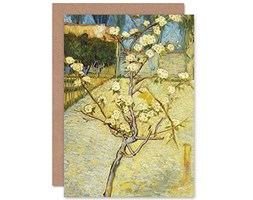 Vincent Van Gogh Blossoming Pear Tree Cropped Fine Art Greeting Card Plus Envelope Blank Inside Fiorire Albero
