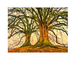 Artery8 Twin Trees Painting XL Giant Panel Poster (8 Sections) Alberi Pittura Manifesto