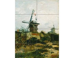 Artery8 Vincent Van Gogh Windmills On Montmartre XL Giant Panel Poster (8 Sections) Manifesto Bianco Poster senza cornice