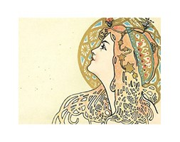 Wee Blue Coo Painting Face Nouveau Woman Decorative Art Large Art Print Poster Wall Decor 18x24 inch Beige
